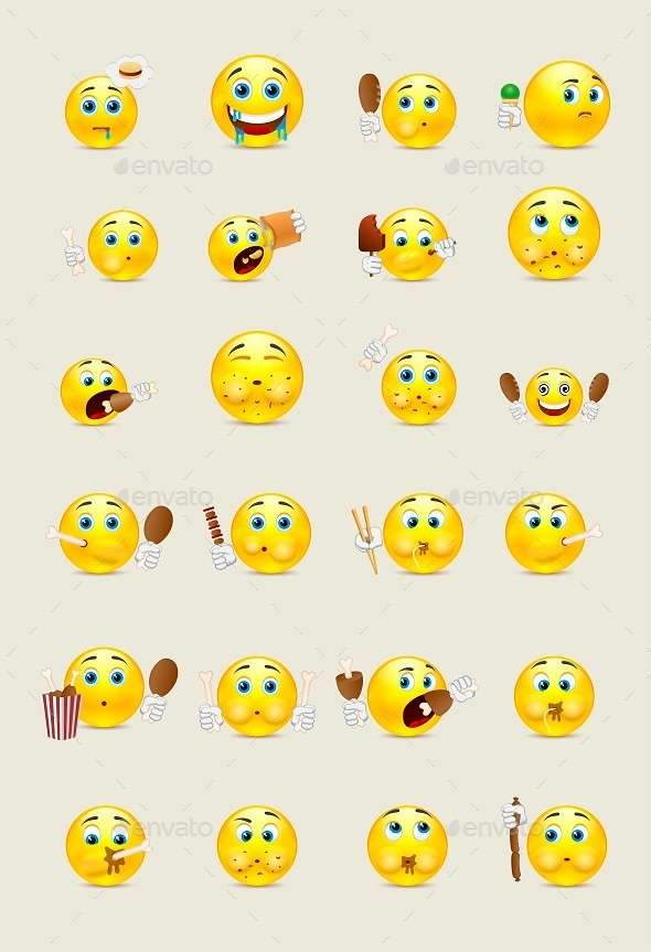 Set of Smileys Which Eat