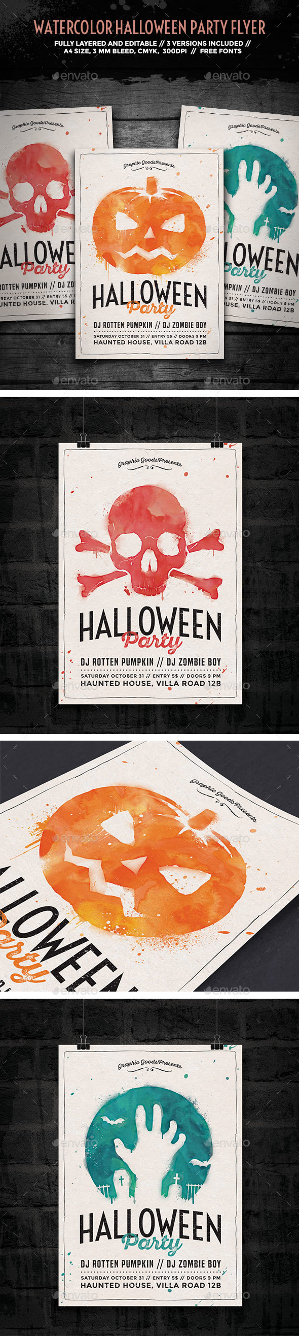Watercolor Halloween Party Flyer - Holidays Events
