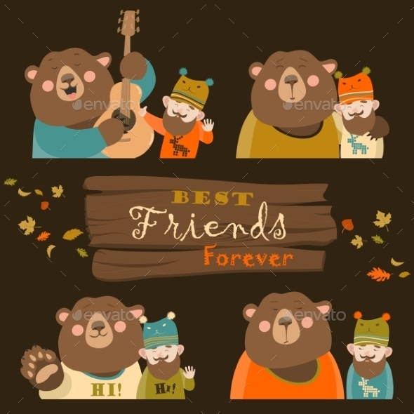 Funny Bear And Man Are The Best Friends - Animals Characters