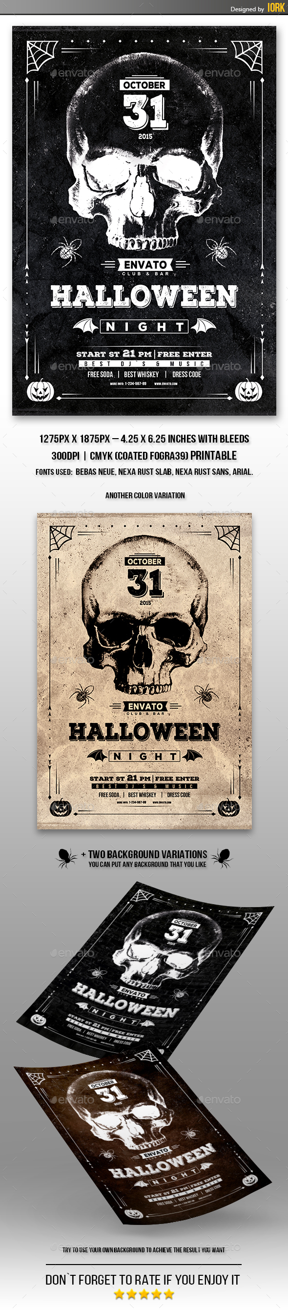 Vintage Halloween Night Flyer  - Holidays Events