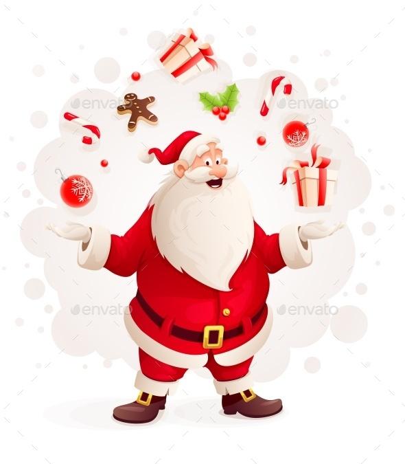 Merry Santa Claus Juggles with Christmas Gifts - Christmas Seasons/Holidays