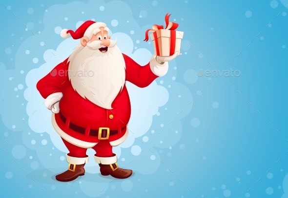 Merry Santa Claus Holds Christmas Gift in Box - Christmas Seasons/Holidays