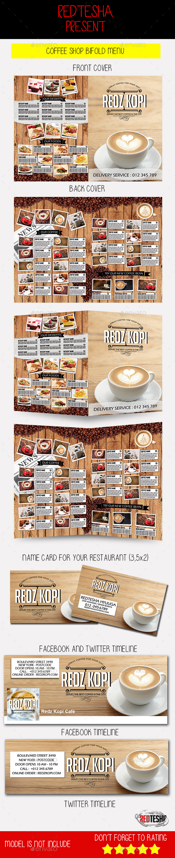 Coffee Shop Bifold Menu - Food Menus Print Templates