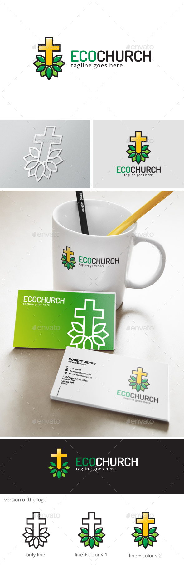 Green Church Logo - Nature Logo Templates