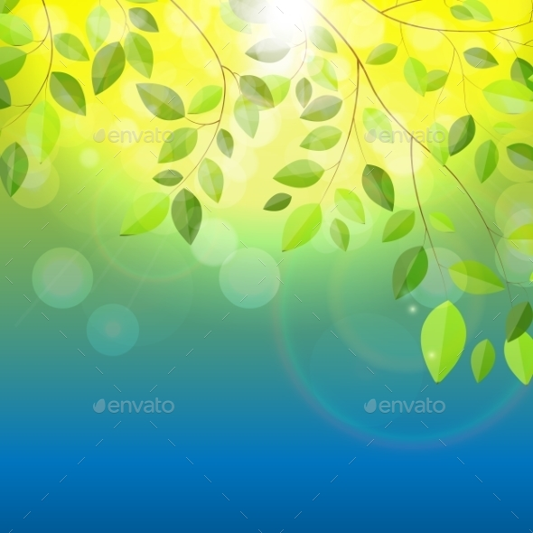 Shiny Spring Natural Leaves Background Vector