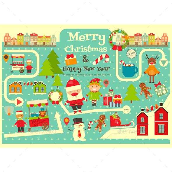 Christmas Characters on City Map. - Christmas Seasons/Holidays