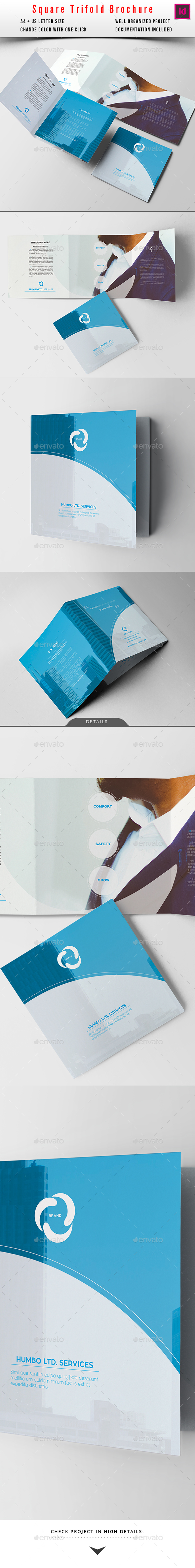 Square Modern Trifold Business Brochure - Corporate Brochures