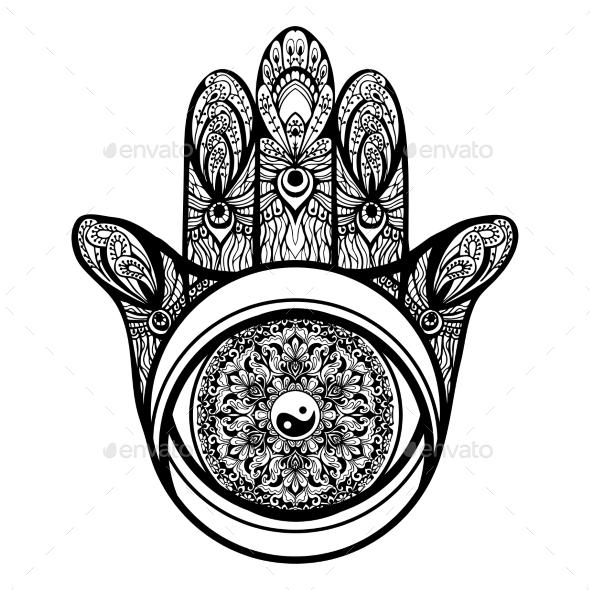 Hamsa Hand Illustration - Religion Conceptual