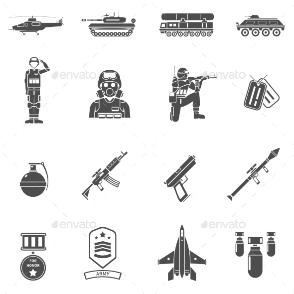 Army Black White Icons Set  - People Characters