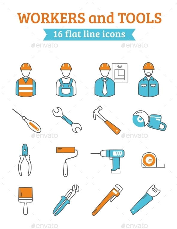 Construction Workers Tools Line Icons Set  - Objects Icons