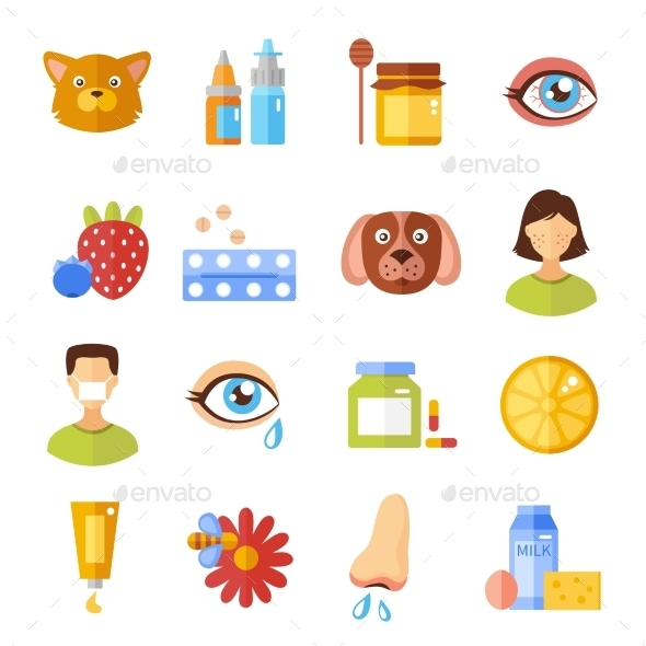 Allergy Types And Causes Icons - Objects Vectors