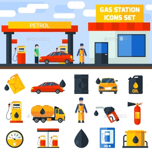 Gas Petrol Station Icons Collection Banner - Industries Business