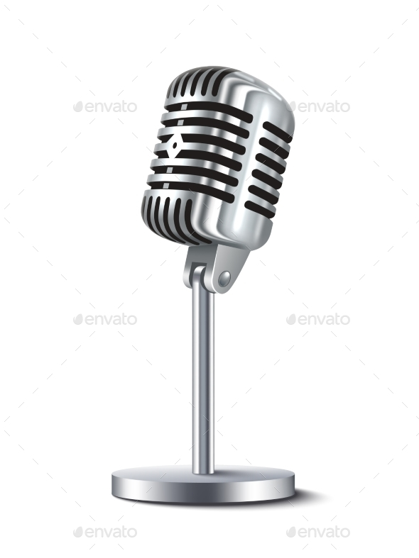 Vintage Microphone Isolated - Retro Technology