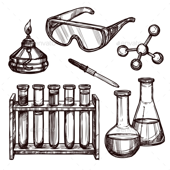 Chemistry Tools Hand Drawn Set  - Technology Conceptual