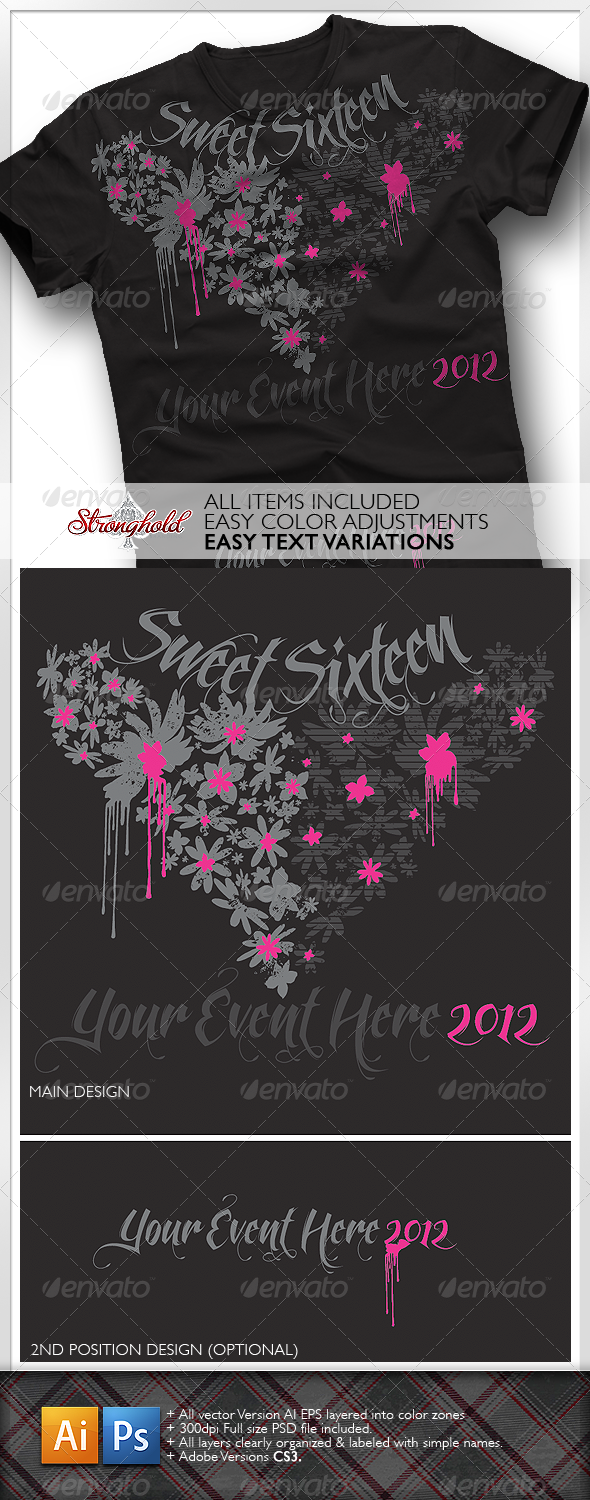 Sweet Sixteen Girls T-Shirt - Events T-Shirts
