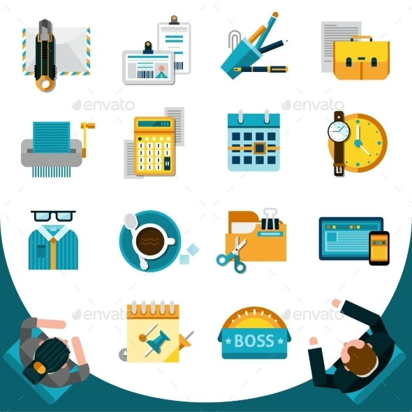 Office Icons Set - Business Conceptual