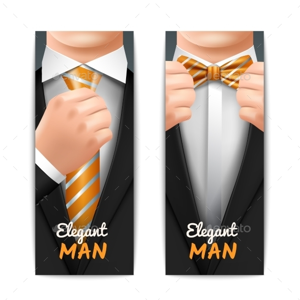 Elegant Man Banners Set - People Characters