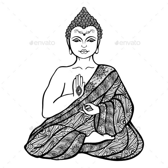 Decorative Buddha Sketch - Religion Conceptual