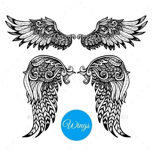 Decorative Wings Set - Decorative Vectors