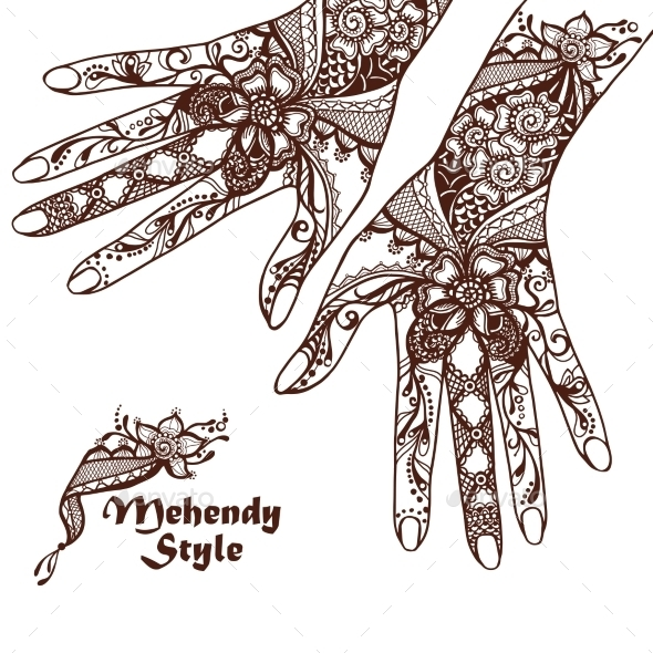 Decorative Hands With Henna Tattoos - People Characters