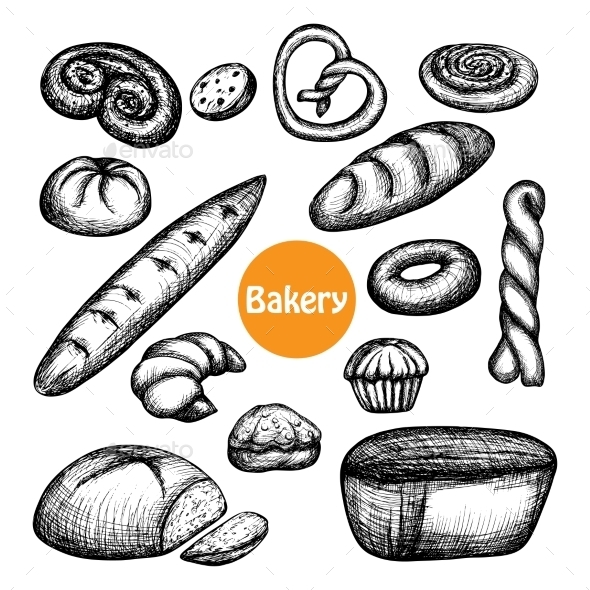 Hand Drawn Bakery Set - Food Objects