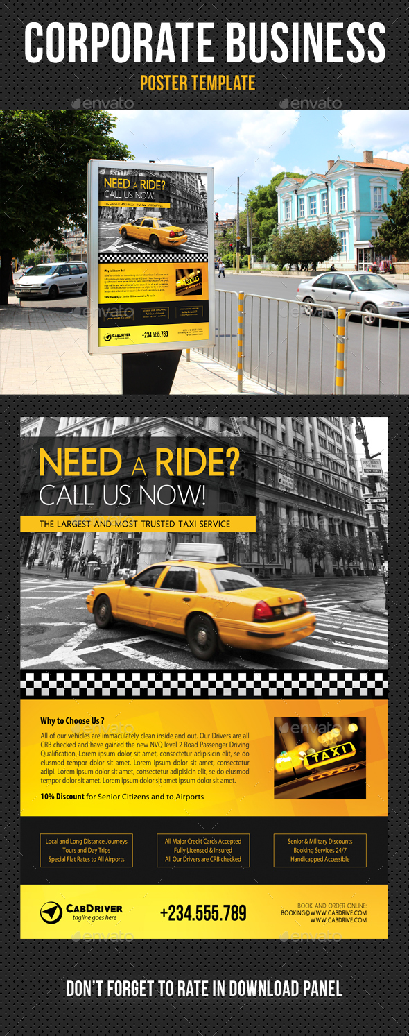Taxi Cab Drive Poster Template