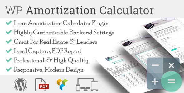wp amortization calculator by sh themes codecanyon