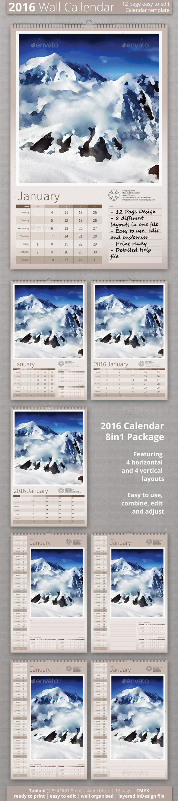 2016 Wall Calendar - Calendars Stationery