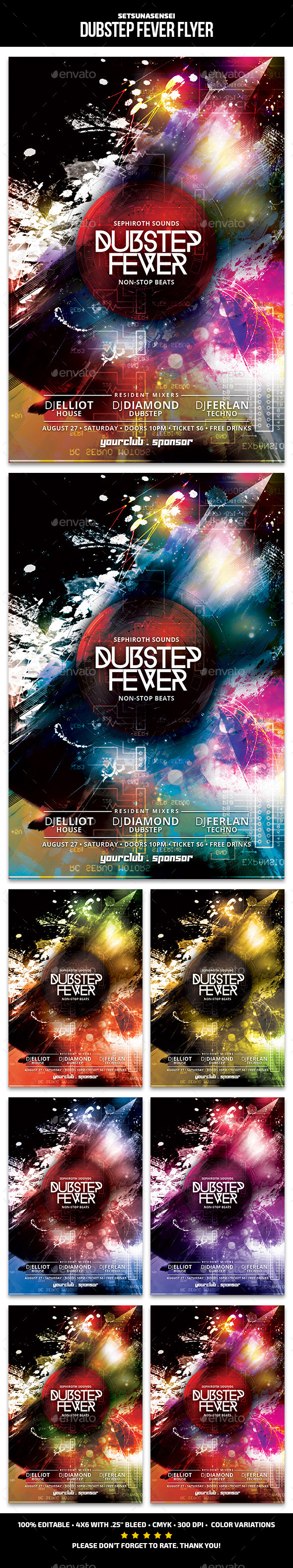 Dubstep Fever Flyer - Clubs & Parties Events