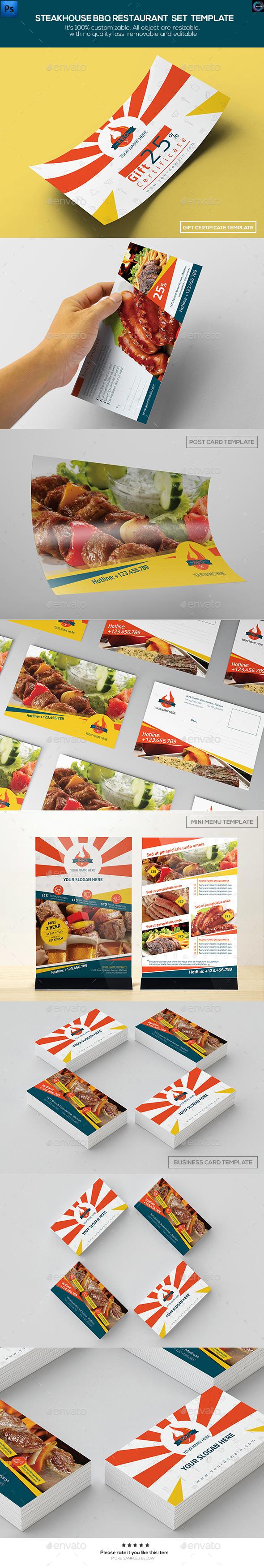 Steakhouse BBQ Restaurant - Set Template - Food Menus Print Templates