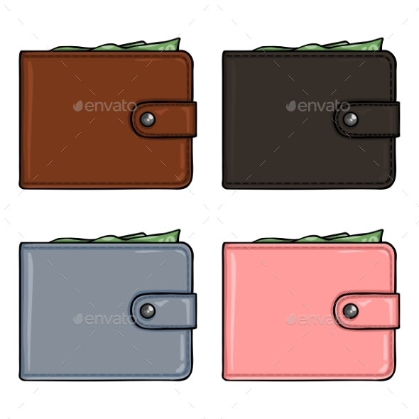 Vector Set Of Cartoon Color Leather Wallets