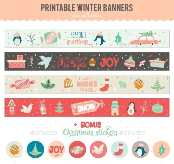 Cute Vector Christmas Cards And Stickers - Christmas Seasons/Holidays