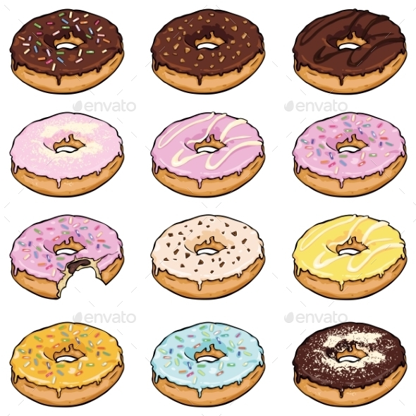 Vector Set Of Cartoon Color Doughnuts - Miscellaneous Vectors