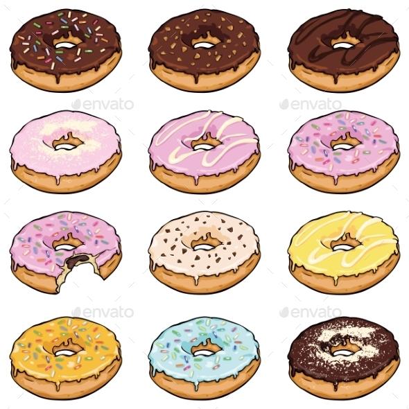 Vector Set Of Cartoon Color Doughnuts