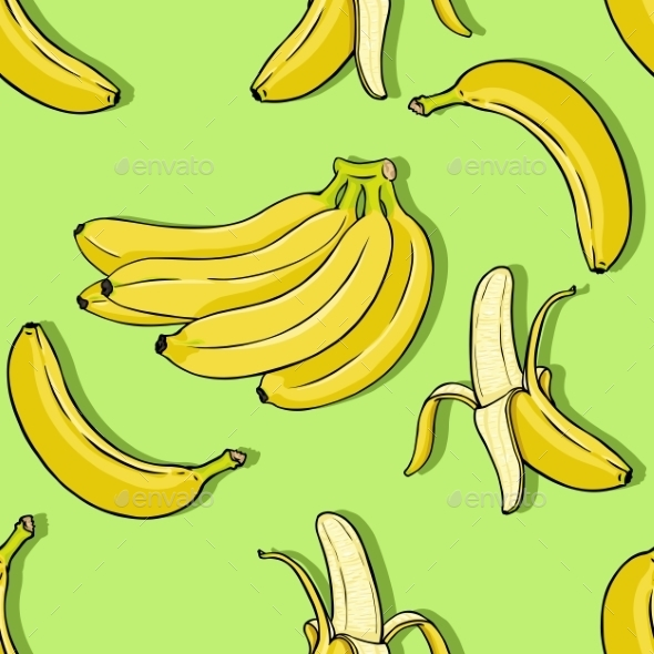 Vector Cartoon Banana Background - Patterns Decorative