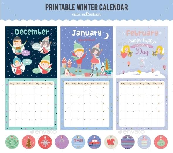 Cute Calendar Diary 2016 With Seasonal Themes - Birthdays Seasons/Holidays