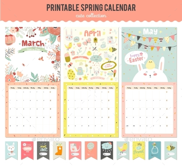 Cute Calendar Diary 2016 With Seasonal Themes