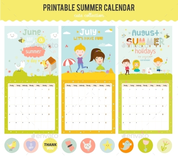 Cute Calendar Diary  With Seasonal Themes By RuslanaVasiukova