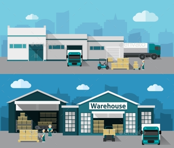 Warehouse Flat Banner Set - Buildings Objects