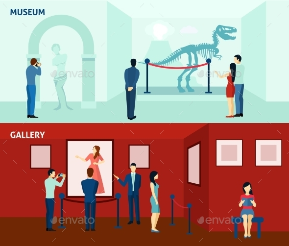 Museum Visitors 2 Flat Banners Poster  - Miscellaneous Vectors