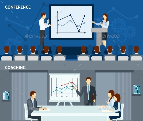 Public Speaking 2 Flat Horizontal Banners  - Concepts Business