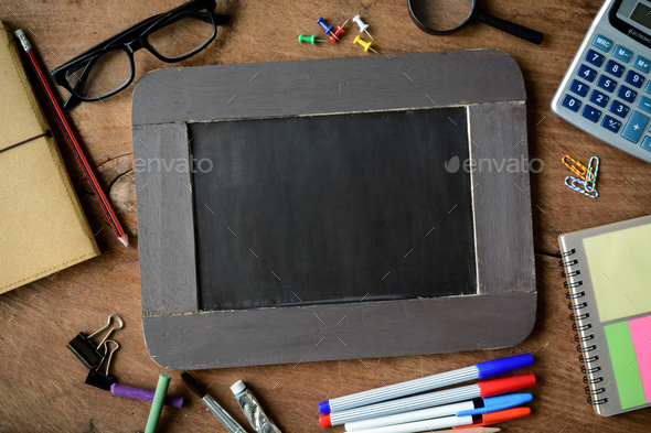 Back to school background with chalkboard - Stock Photo - Images