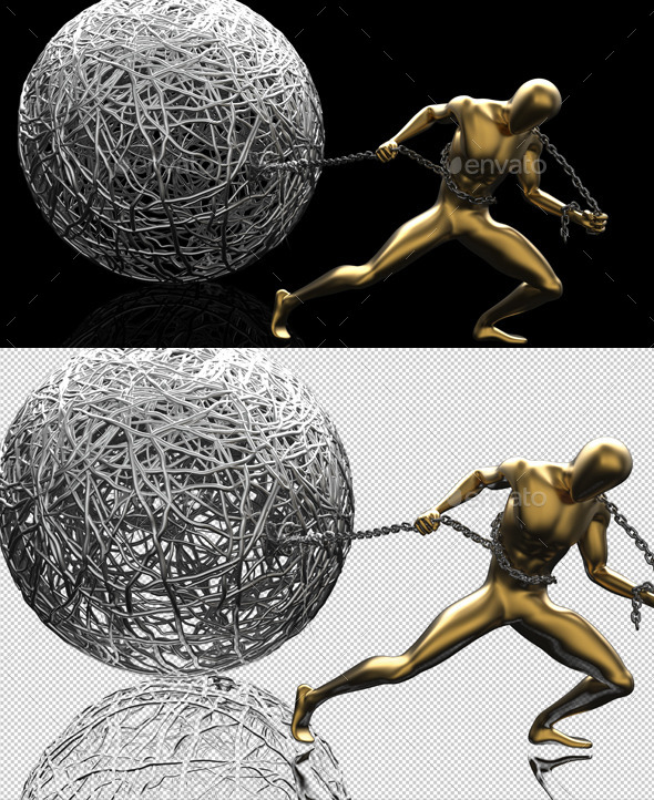 Creative Golden Muscle 3D Man Drag Wire Ball - Characters 3D Renders