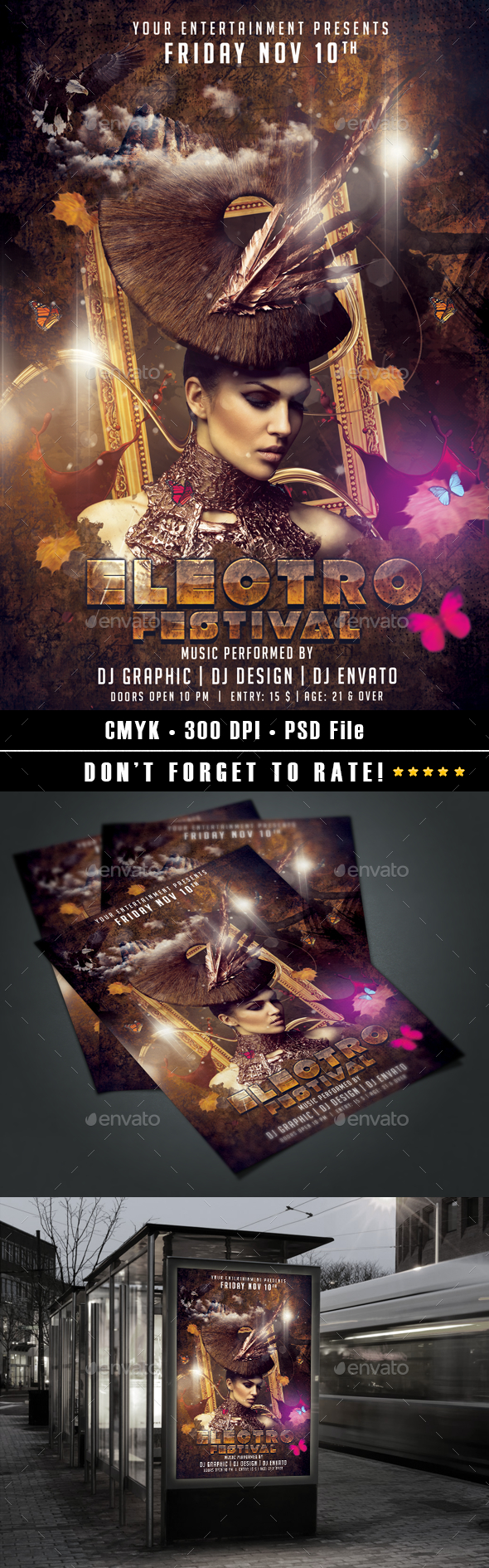 Electro Festival flyer template - Clubs & Parties Events