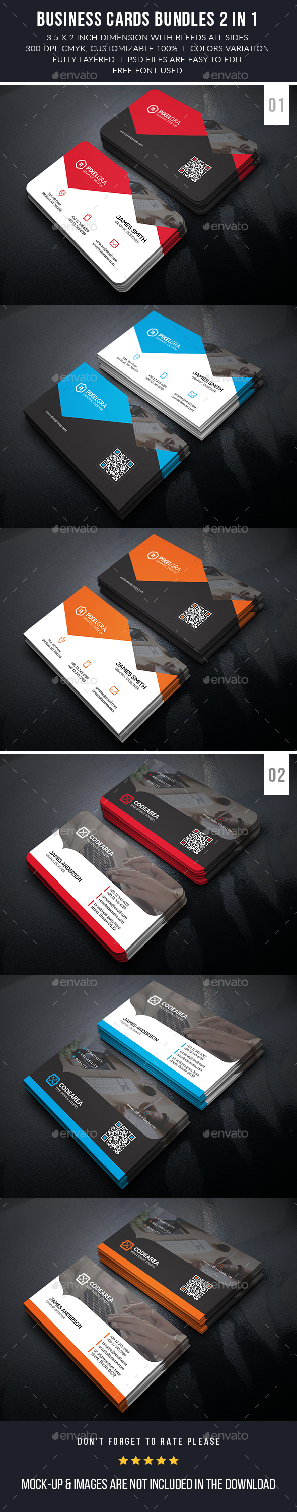 Professional Business Cards Bundle - Business Cards Print Templates