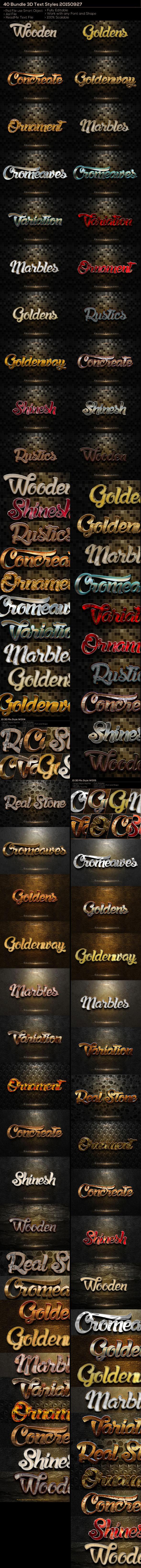 40 3D Text Style Bundle
