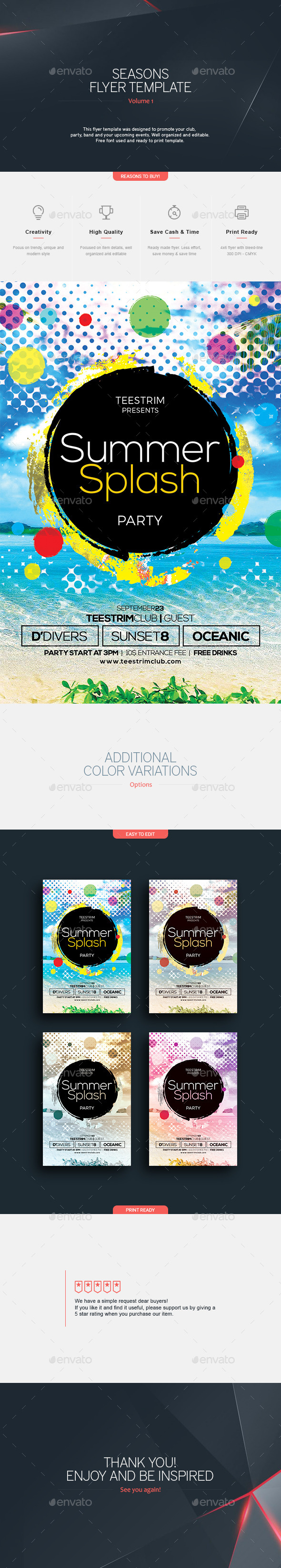 Summer Splash - Flyer Template - Clubs & Parties Events