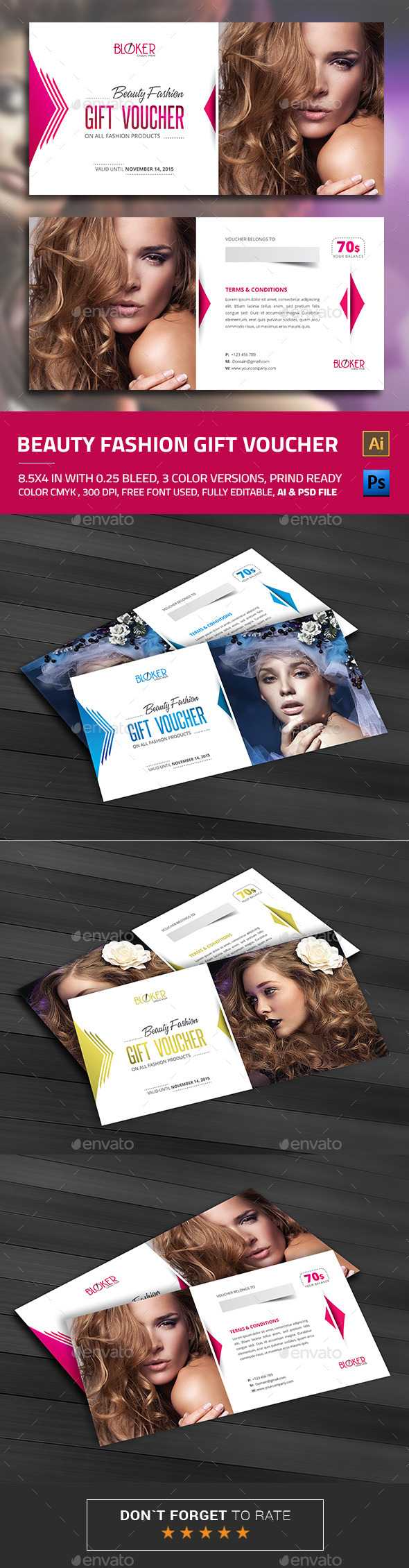 Beauty Fashion Gift Voucher - Loyalty Cards Cards & Invites