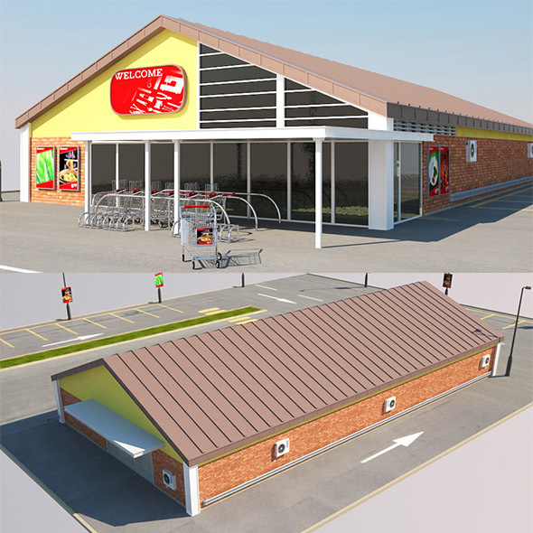 Super Market Building With Parking Space - 3DOcean Item for Sale