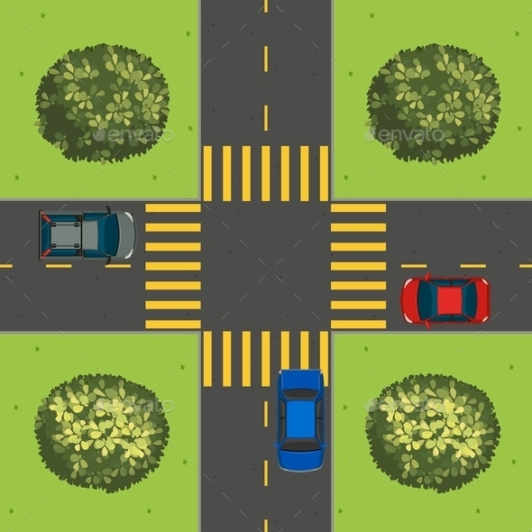 Aerial View of Cars at Intersection - Miscellaneous Conceptual